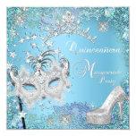 Masquerade Quinceanera 15th Party Blue Tiara Shoe Custom Announcement