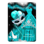 Masquerade Quinceanera Birthday Party Teal 3a 13 Cm X 18 Cm Invitation Card