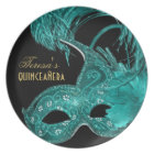 Masquerade quinceañera birthday turquoise mask plate