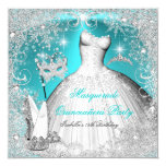 Masquerade Quinceanera Party Teal White Snowflake 13 Cm X 13 Cm Square Invitation Card