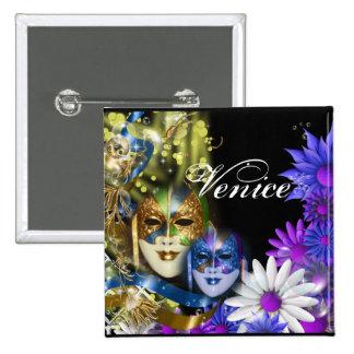 Masquerade quinceanera Venetian masks PERSONALIZE 15 Cm Square Badge