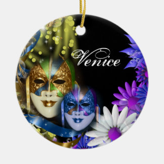 Masquerade quinceanera Venetian masks Round Ceramic Decoration