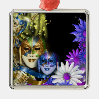 Masquerade quinceanera Venetian masks Silver-Colored Square Decoration