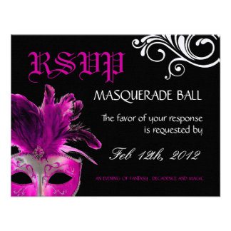 Masquerade Reply Cards Personalised Announcement