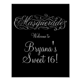 MASQUERADE Silver & Any Color Party Welcome Sign