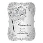 Masquerade Silver Quinceanera 15th Birthday 13 Cm X 18 Cm Invitation Card