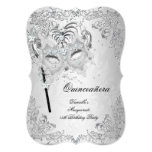 Masquerade Silver Quinceanera 15th Birthday 13 Cm X 18 Cm Invitation Card