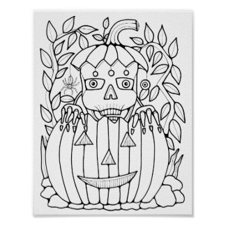 Masquerade Skeleton Cardstock Adult Coloring Page Poster