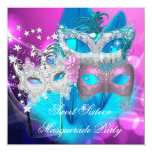 Masquerade Sweet 16 Pink Purple Teal Mask 13 Cm X 13 Cm Square Invitation Card