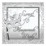 Masquerade Sweet 16 Sixteen Birthday White Personalised Invitations