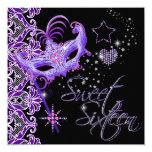 Masquerade Sweet Sixteen Sweet 16 Purple Black 5.25x5.25 Square Paper Invitation Card