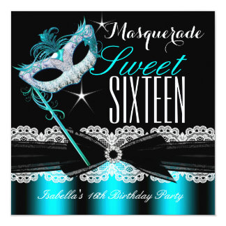 Masquerade Sweet Sixteen Sweet 16 Teal Blue 2 13 Cm X 13 Cm Square Invitation Card