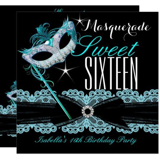 Masquerade Sweet Sixteen Sweet 16 Teal Blue Card