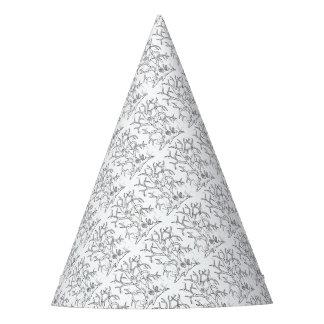 Masquerade Tree Line Art Design Party Hat