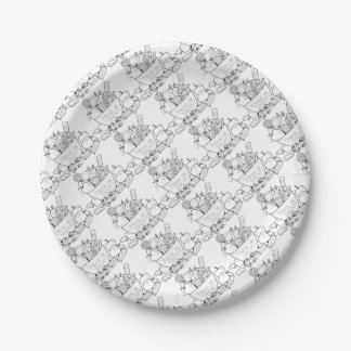 Masquerade Trick Or Treat Bowl Line Art Design 7 Inch Paper Plate