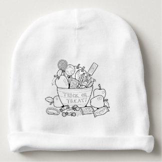 Masquerade Trick Or Treat Bowl Line Art Design Baby Beanie