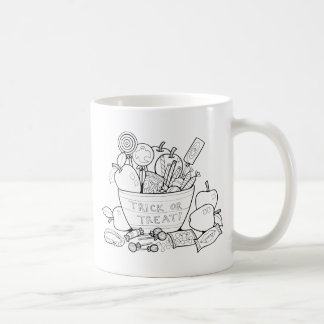 Masquerade Trick Or Treat Bowl Line Art Design Coffee Mug