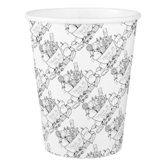 Masquerade Trick Or Treat Bowl Line Art Design Paper Cup