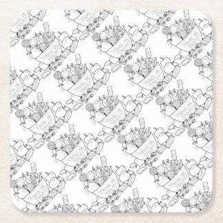 Masquerade Trick Or Treat Bowl Line Art Design Square Paper Coaster