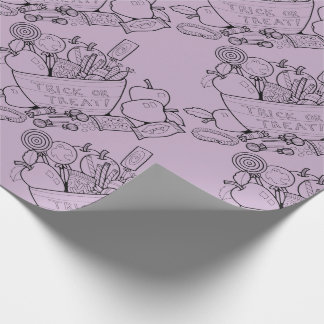 Masquerade Trick Or Treat Bowl Line Art Design Wrapping Paper