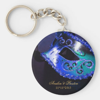 Masquerade Wedding Favor Blue Keychain
