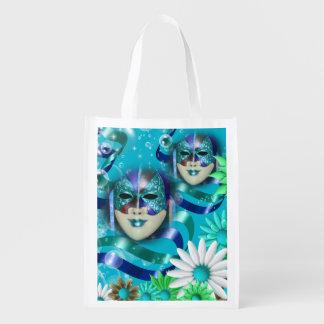 Masquerade wild flower   blue green reusable grocery bag