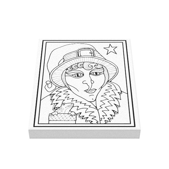 Line Art Poster Design : Masquerade witch frog line art design canvas print zazzle