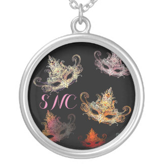 Masquerade with Custom Initials Silver Plated Necklace