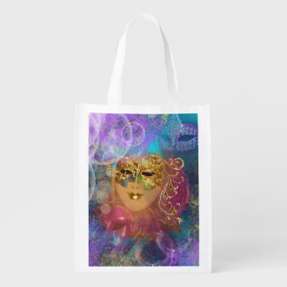 Masquerade woman gold mask reusable grocery bag