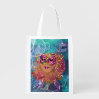 Masquerade woman pink gold mask reusable grocery bag