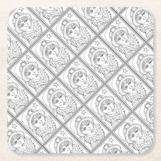 Masqurade Witch Frog Line Art Design Square Paper Coaster