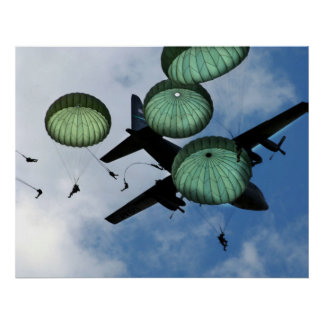 Mass Jump Mission, Parachutes, U.S. Army Poster