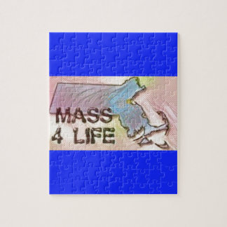 """""""Massachusetts 4 Life"""" State Map Pride Design Jigsaw Puzzle"""