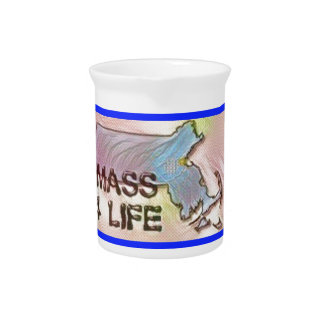 """Massachusetts 4 Life"" State Map Pride Design Pitcher"