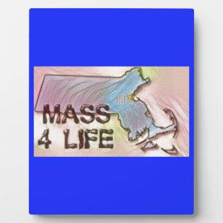 """Massachusetts 4 Life"" State Map Pride Design Plaque"