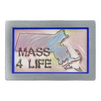 """Massachusetts 4 Life"" State Map Pride Design Rectangular Belt Buckles"