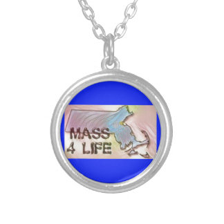 """""""Massachusetts 4 Life"""" State Map Pride Design Silver Plated Necklace"""