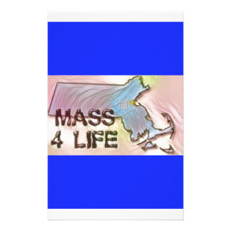 """Massachusetts 4 Life"" State Map Pride Design Stationery"