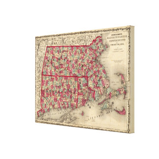 Massachusetts, Connecticut, and Rhode Island Gallery Wrap Canvas