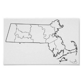 Massachusetts Counties Blank Outline Map Poster