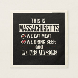 Massachusetts Eat Meat Drink Beer Awesome Paper Napkin
