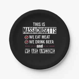 Massachusetts Eat Meat Drink Beer Awesome Paper Plate