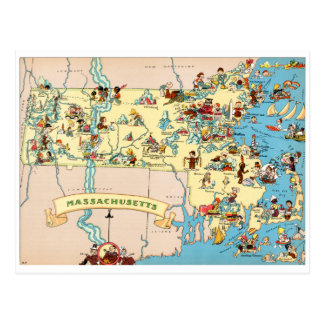 Massachusetts Funny Vintage Map Postcard