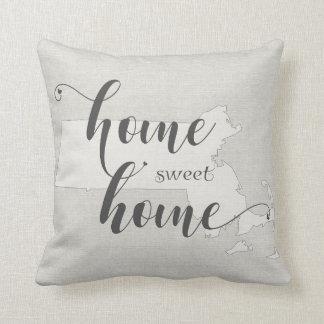 Massachusetts - Home Sweet Home burlap-look Cushion