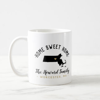 Massachusetts Home Sweet Home Family Monogram Mug