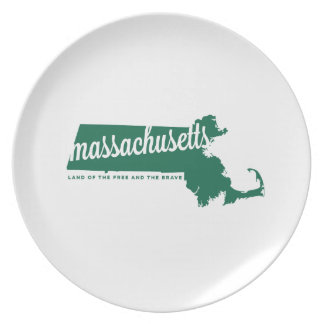 massachusetts | land of the free | green plate