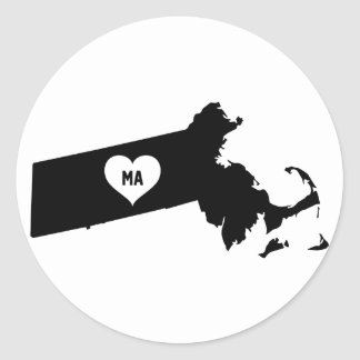 Massachusetts Love Classic Round Sticker