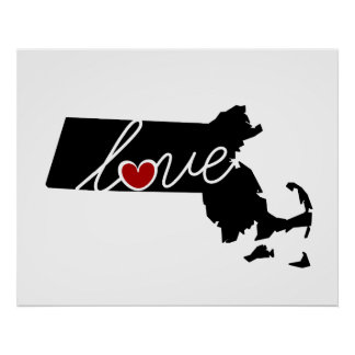 Massachusetts Love!  Gifts for MA Lovers Posters