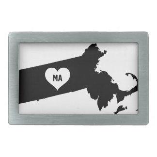 Massachusetts Love Rectangular Belt Buckle