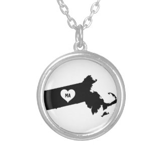 Massachusetts Love Silver Plated Necklace
